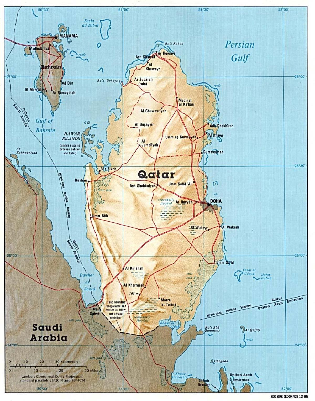katar térkép Katar road map   Térkép katar út (Nyugat Ázsia   Asia) katar térkép